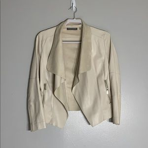 Cream Faux Leather Open Front Jacket